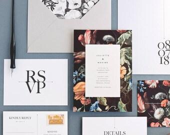 Juliette Wedding Invitation & Correspondence Set / Vintage Floral Paintings and Modern Accents / Sample Set