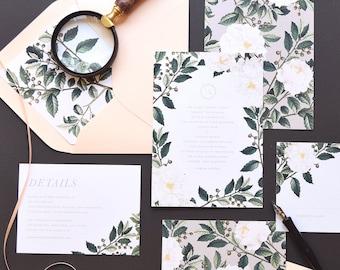 Ainlsey Wedding Invitation & Correspondence Set / Botanical florals and greenery / Sample Set