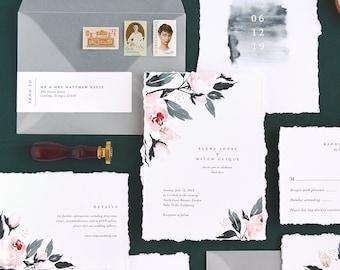 Flora Wedding Invitation & Correspondence Set / Watercolor Botanical and Floral Painting / Sample Set