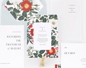 Corinne Wedding Invitation & Correspondence Set / Romantic Modern Garden Red Botanical Hollyhock Begonia Florals / Sample Set