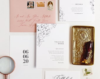 Tallulah Wedding Invitation & Correspondence Set / Bougainvillea Botanical Drawings and Elegant Typography / Gold Foil / Sample Set