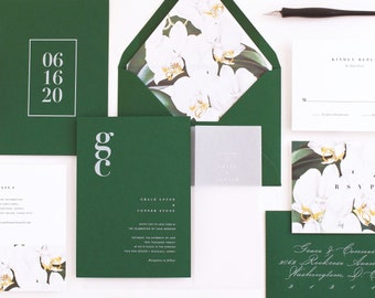 Orchid Wedding Invitation & Correspondence Set / Save the Date / Romantic Modern Tropical White Orchid Botanicals / Sample Set