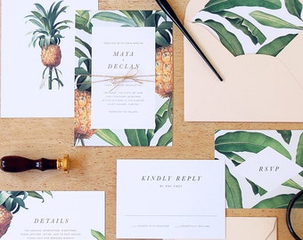 Maya Wedding Invitation & Correspondence Set / tropical pineapple and banana leaf accents / Sample Set