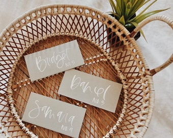 Custom White on Grey Wedding Place Cards, Calligraphy Place Cards, Tented Place Cards, Wedding Escort Cards, Wedding Calligraphy