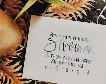 Watercolor Calligraphy Hand Lettered Envelope Addressing, Hand Lettered Envelopes, Wedding Envelope, Custom Envelope Addressing
