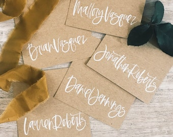 Custom White on Kraft Wedding Place Cards, Calligraphy Place Cards, Tented Place Cards, Wedding Escort Cards, Wedding Calligraphy