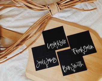 Custom White on Black Wedding Place Cards, Calligraphy Place Cards, Tented Place Cards, Wedding Escort Cards, Wedding Calligraphy