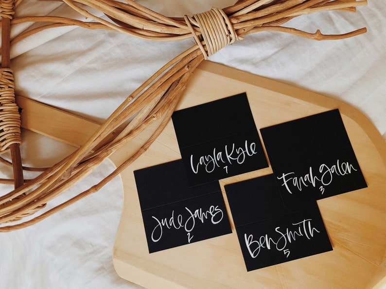 Wedding Escort Cards Wedding Calligraphy Calligraphy Place Cards Custom White on Black Wedding Place Cards Tented Place Cards