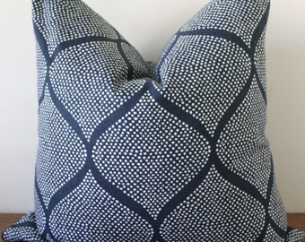 NEW- Decorator Pillow Cover- Blue and Off-White - Madcap Cottage