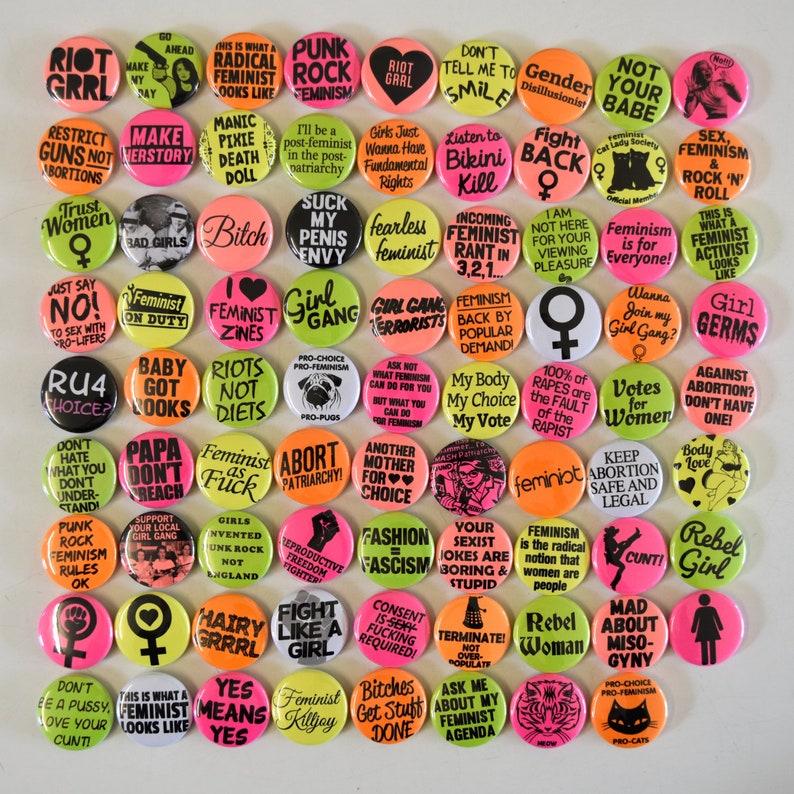 SALE Feminist 1 Pinback Button Badges Bulk Wholesale image 0