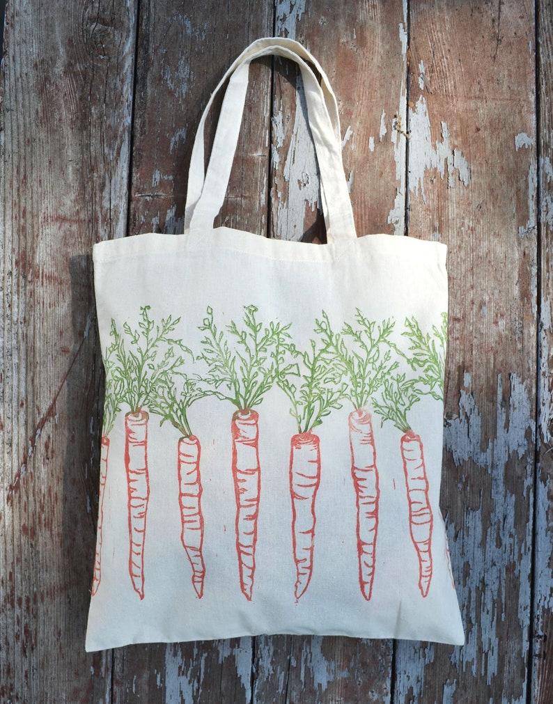 Tote bag farmers market carrots reusable grocery bag image 0