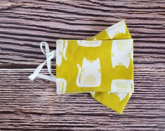 Adult Face Mask, Reusable, Face Covering, Fabric, Washable, Mask, Cat, Cute, Funny, Neutral
