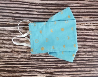 Adult Face Mask, Reusable, Face Covering, Fabric, Washable, Blue Moon, Gender Neutral, Male, Sky, Space
