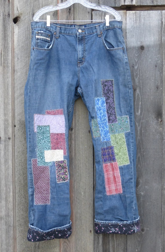 Patched Boyfriend Jeans Upcycled RL Polo Dungarees embroidered with contrasting roll up vintage cotton cuffs Womens size 14