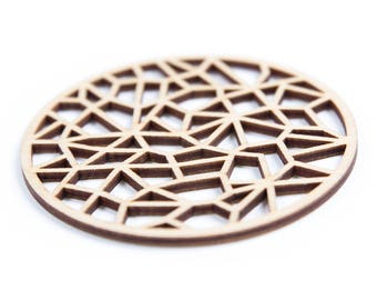 """Wooden Coasters Set """"Organo""""/ Laser Cut Coasters/ Drink Coasters/ Set of 4 Wood Coasters/ Wedding Coasters/ New Home Gift/ Housewarming Gift"""