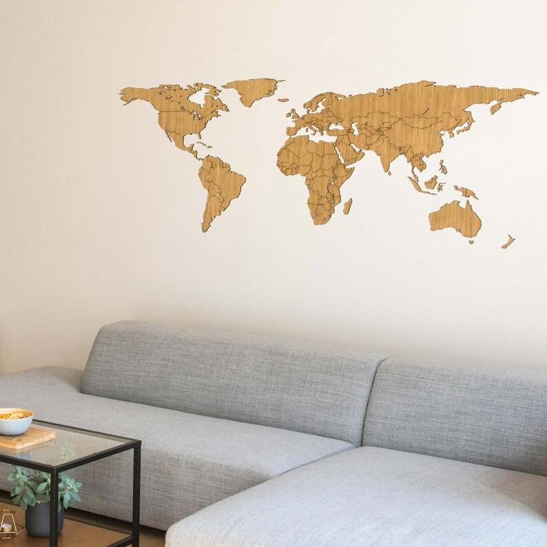 Ongebruikt Houten Wereldkaart Eiken / Walnoot hout kaart van de | Etsy KY-73