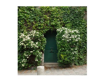 Square Photography Print - Green Door with Ivy - Paris Wall Art - Paris bedroom Decor