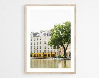 Paris Photography Print - Canal Saint Martin - Parisian Art Print - Travel Photography - Paris Wall Art - Yellow Art Print