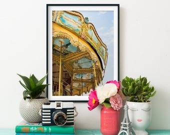 French Carousel Art Print - Paris Photography - Children's Room Art Print - Gallery Wall Art - Carousel Photography Print - 16x20 Art Print