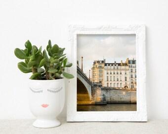 Neutral Paris Photography Print - Large Wall Art - Parisian Art Print - Paris Bedroom Decor - Pont de La Tournelle