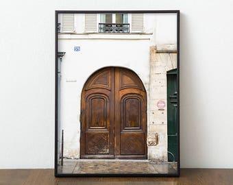 Paris Door Photography Print - Large Wall Art - Parisian Art Print - Brown Door Photo - Neutral Home Decor - Gallery Wall Print