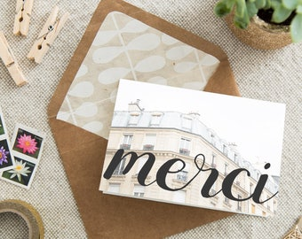 Merci Thank You Card - French Greeting Card - Instant Download Printable Thank You Card - DIY Card