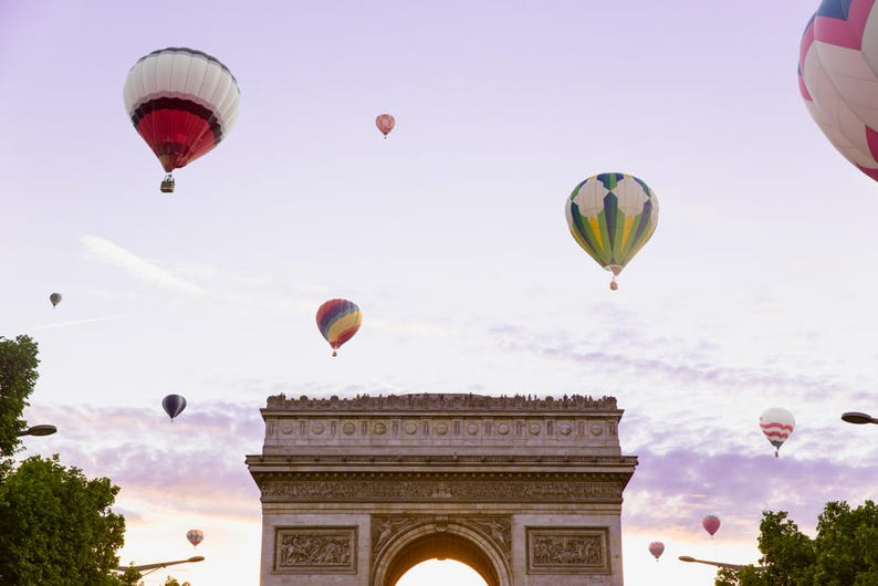 Paris Balloon Print  Arc de Triomphe Photo Print  Whimsical image 1