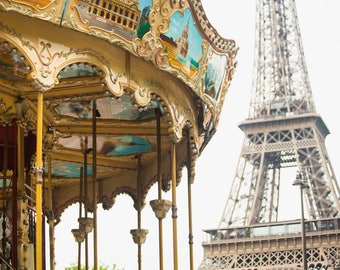 Parisian Carousel Photography Print - Eiffel Tower Wall Art - Paris Travel Photo - French Home Decor - Photo Art Print