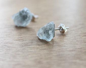 1 Pair BLUE ICE Stainless Steel Earrings GENUINE Crystal Natural raw Aquamarine earrings
