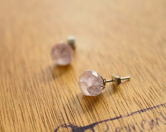 1 Pair RounD Pretty Stainless Steel Earring GENUINE Crystal Natural RAW Rose-QUARTZ earrings healing jewelry healing crystals