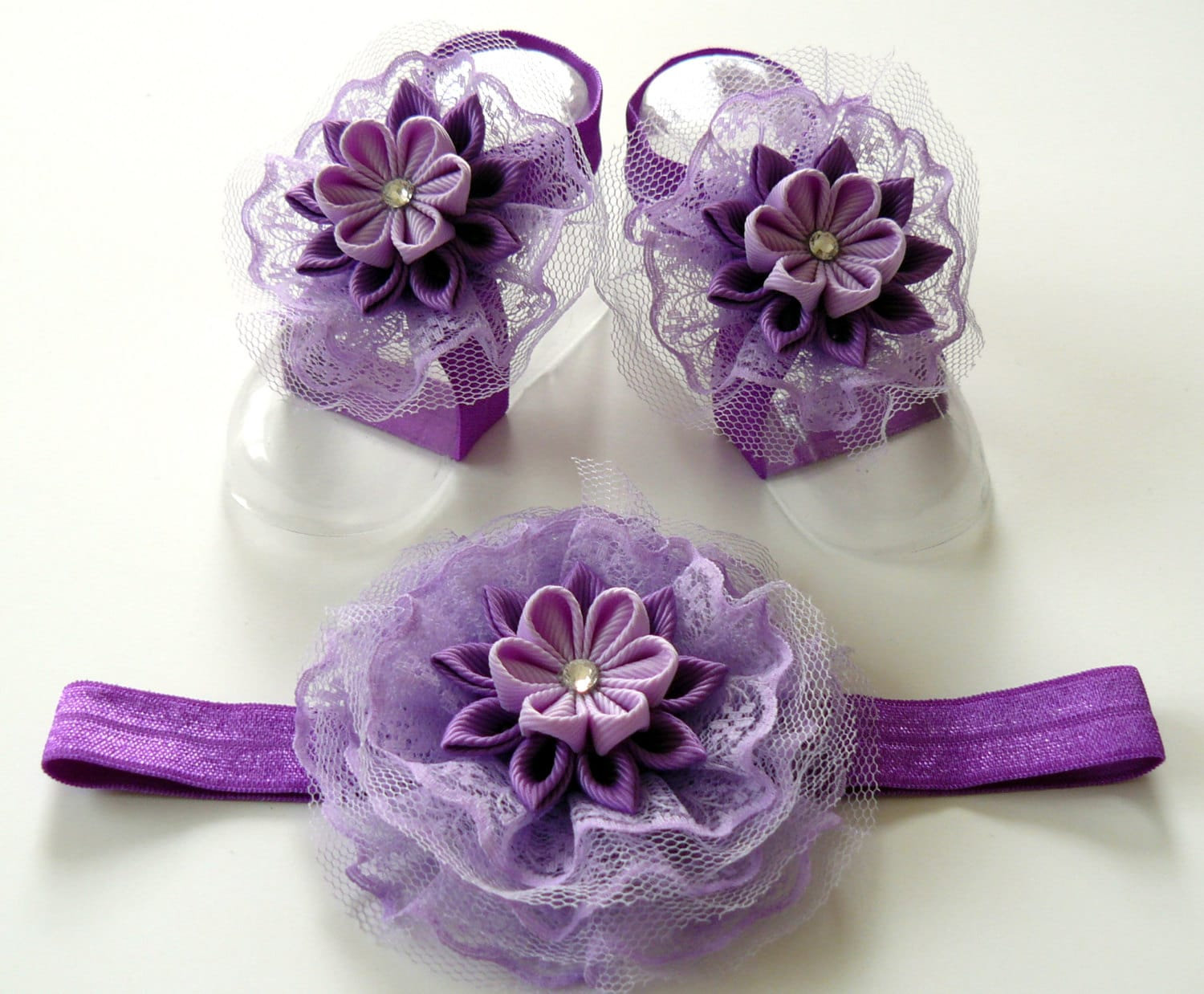 386b14557ce4c6 Baby Headband and Baby Barefoot Sandals. Baby shoes. Baby