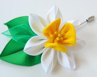 Men's Flower Lapel Pin. Kanzashi daffodil flower brooch . Kanzashi flower lapel pin. Boutonniere lapel pin. Handmade Wedding Boutonniere.