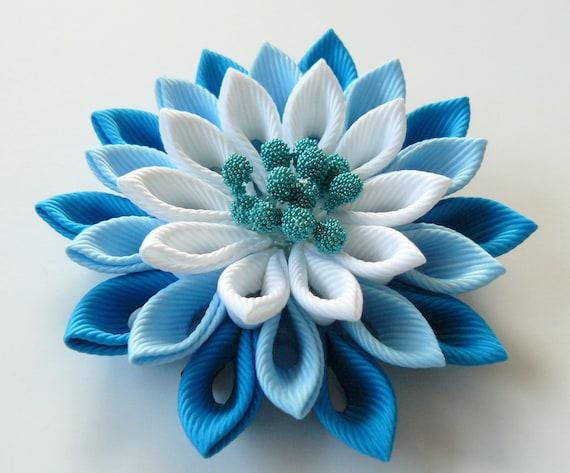 Black and blue. Kanzashi fabric flower hair clip