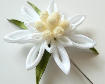 Men's Flower Lapel Pin. Austrian edelweiss flower brooch . Kanzashi flower lapel pin. Boutonniere lapel pin. Edelweiss Wedding Boutonniere.