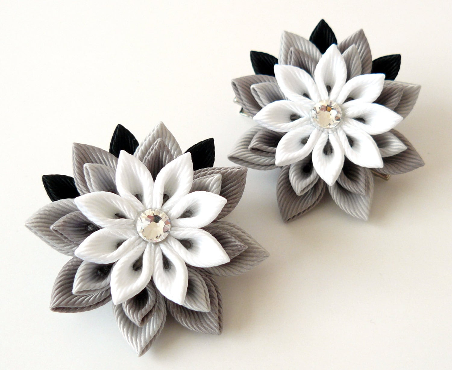 Kanzashi Fabric Flowers Set Of 2 Hair Clips Grey And White Etsy