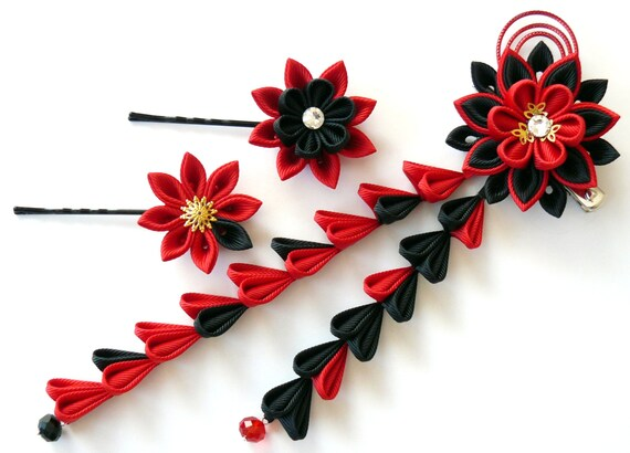 Ethical Make! Facinator with Bamboo and Flowers Red and Black Kanzashi Hair Ornament