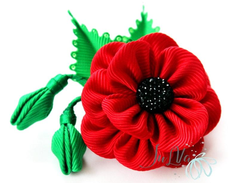 Men's Flower Lapel Pin  Red poppy flower brooch   Red poppy lapel pin   Boutonniere lapel pin  Handmade Wedding Boutonniere