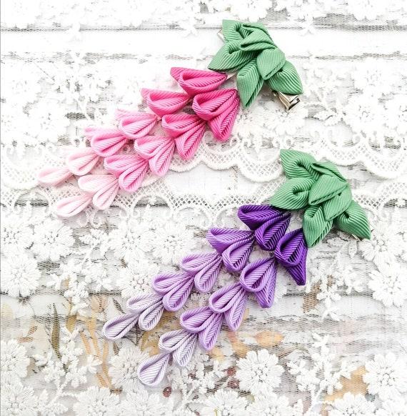 Allie style wisteria purple felt flower bow nylon headband or clip.