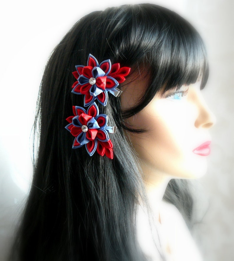 Red and blue. Set of 2 hair clips Kanzashi  Fabric Flowers