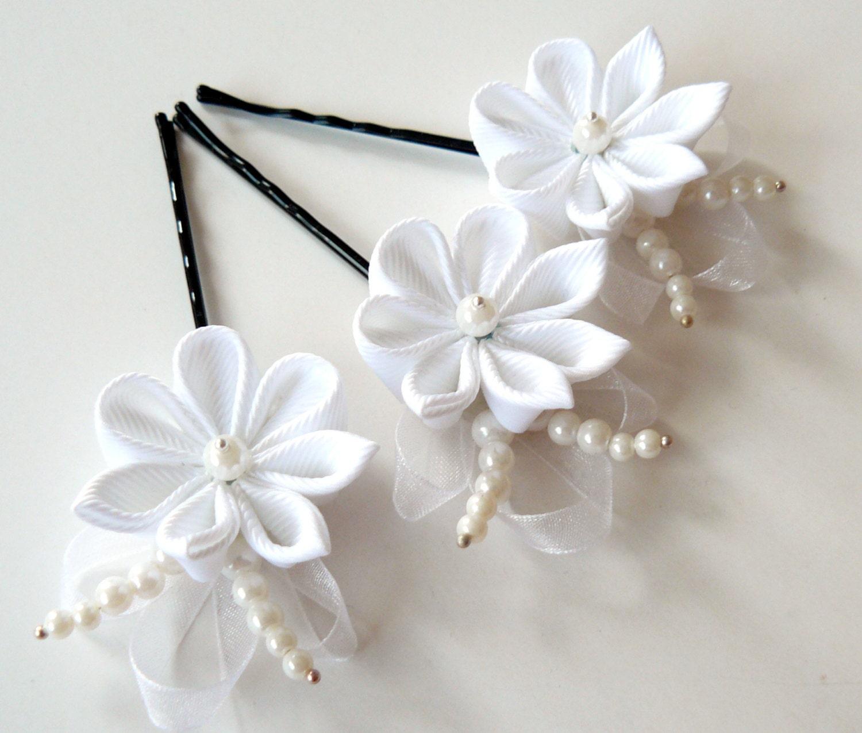 White Kanzashi Flower Hair Pins For Bride Wedding Hair Etsy