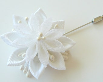 Men's Flower Lapel Pin. Kanzashi  fabric flower brooch . Kanzashi flower lapel pin. Boutonniere lapel pin. Handmade Wedding Boutonniere.