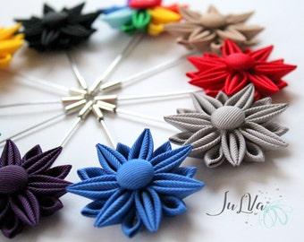 Men's Flower Lapel Pin. Kanzashi flower brooch. Kanzashi flower lapel pin. Boutonniere lapel pin Wedding Boutonniere.
