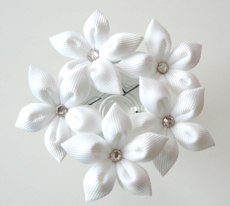 White Flower Hair Pins For Bride Wedding Hair Flowers Bridal Etsy
