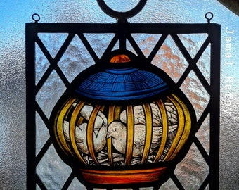 Stained Glass, window, Birds, Doves,  hand painted, ref: Victorian Edwardian style Bird Dove
