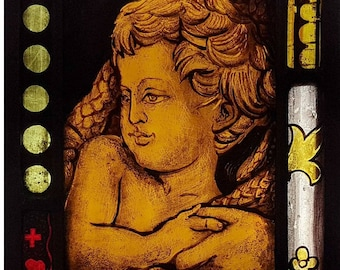 Stained Glass window,  Baby, Infant, Child, Panel, Leaded, Ready to Hang, 23x12cm (9x5 inch), Hand painted, kiln fired, antique looking