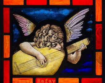 Stained Glass, window, Angel Playing Music, hand painted, ref: Music Angel