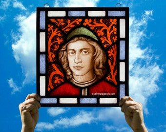 Stained Glass window, 'Oration on the Dignity of Men' Panel, Leaded, Ready to Hang, RMJudy4