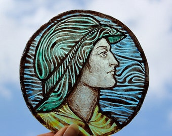 Hand Painted Stained Glass Window piece, kiln fired, portrait, Face, RMJudy5