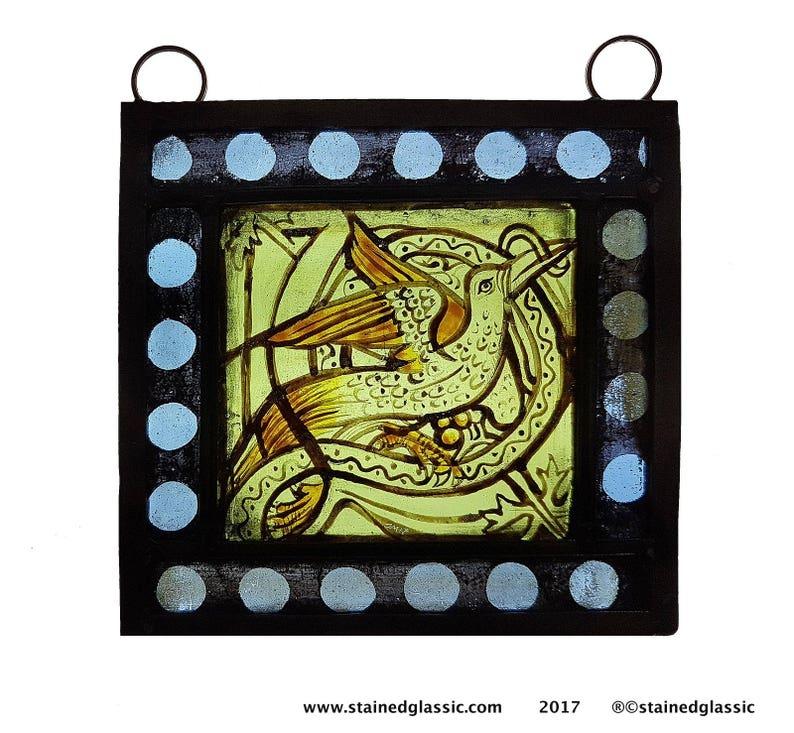 Heart Vintage Illustration Kiln-fired Night Light on Green Glass