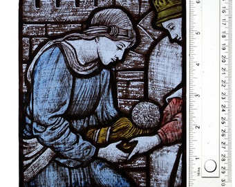 Hand Painted Stained Glass Window panel, kiln fired, based on Burne Jones sketch, The Finding of Moses, RmJudy23